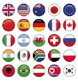 Set of Round Flags world top states vector image