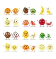 Funny cartoon fruit characters isolated Big cute vector image