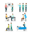 cartoon doctors and patients characters icon set vector image