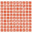 100 rags icons set grunge orange vector image vector image