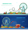 Amusement Park Horizontal Banners vector image vector image