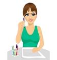 attractive secretary thinking concept vector image