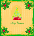 christmas tree with abstract holly berry vector image vector image