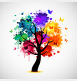 colorful tree background with paint splat and vector image