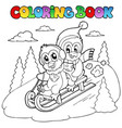 coloring book penguins sledging vector image vector image