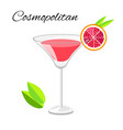 cosmopolitan cocktail isolated on white vector image