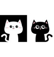 cute black cat kitty kitten icon set kawaii vector image vector image