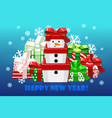 cute merry christmas different gifts gift snowman vector image