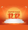 december 12 super sale shopping day on pedestal vector image vector image