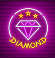 diamond neon sign icon vector image vector image