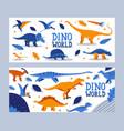 dino world banner children book prehistoric vector image