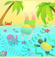 diving jumping boy kid in tropical paradise island vector image vector image