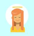 female with angel nimbus emotion profile icon vector image