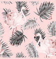 flamingo rose tropical pattern vector image