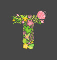 floral summer letter t flower capital wedding vector image vector image
