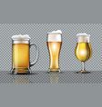 full beer glasses mockup vector image