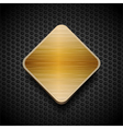 gold brushed panel on black mesh background vector image vector image