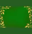 green velvet background with golden leaves vector image