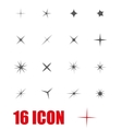 grey sparkles icon set vector image