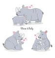 happy rhino and baby cartoon vector image vector image