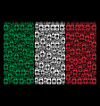 italian flag collage of death skull tag icons vector image