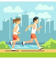 Jogging sport people athletic running man and vector image vector image