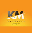 km k m letter modern logo design with yellow vector image vector image