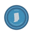 Label with map of indiana Denim style vector image