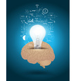 Light bulb with brain drawing business strategy vector image vector image