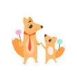 loving father fox and his kid standing with vector image vector image