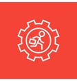 Man running inside the gear line icon vector image vector image