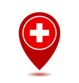 map pointer icon with cross first aid sign vector image vector image