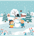 merry christmas greeting card with children making vector image vector image
