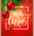 merry christmas lettering in square frame vector image