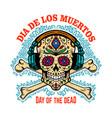 mexican sugar skull with headphones vector image vector image