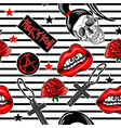 patch pattern with lips skullcross rose gun vector image