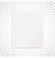 realistic line paper note on isolated background vector image vector image
