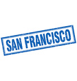 San Francisco blue square grunge stamp on white vector image vector image