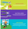 Sanitary electrical work lawn mowing vector image