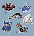 set of cute patch badges with animals alphabet v vector image