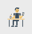 sitting man with smartphone and dring vector image vector image