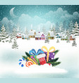 snow-covered village and christmas presents vector image vector image