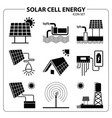 solar cell energy icon set vector image vector image