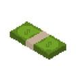 stack of money pixel art pile of cash pixelated vector image vector image