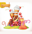 sweet castle gingerbread house cake cupcake vector image