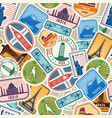 travel pattern immigration stamps stickers with vector image