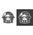 vintage monochrome alien spaceship space emblem vector image vector image