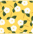 white camellia flower on yellow background vector image vector image