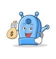 with money bag pencil sharpener character cartoon vector image vector image