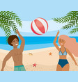 woman and man playing with beach ball and in the vector image vector image